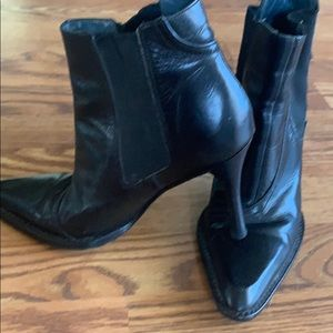 BCBG Pointy toed black booties size 6